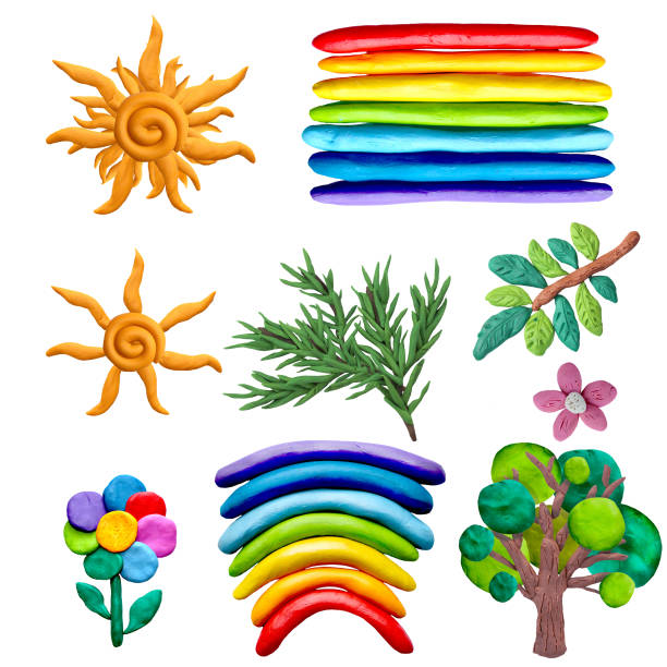 Colorful plasticine 3D nature objects   icons set isolated on white background Colorful plasticine 3D nature objects   icons set isolated on white background clay stock pictures, royalty-free photos & images