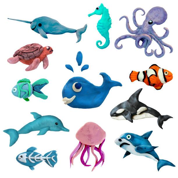 Colorful plasticine 3D sea animals  icons set isolated on white background stock photo