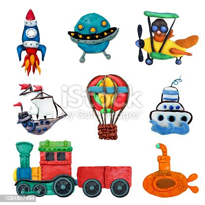 Colorful plasticine 3D transport game   icons set isolated on white background