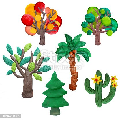 istock Colorful plasticine 3D trees,   icons set isolated on white background 1094798332