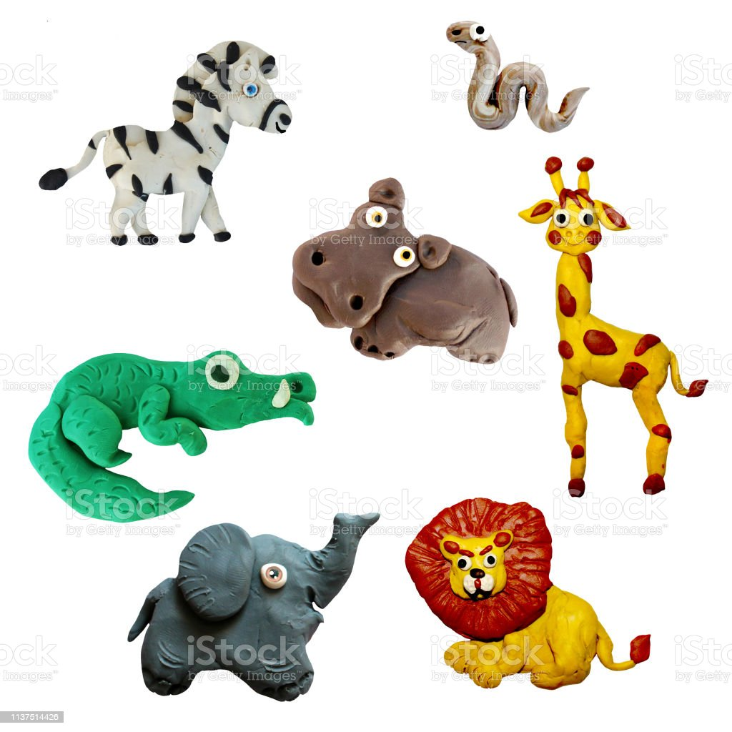 Colorful plasticine 3D wild African  animals  icons set isolated on white background stock photo