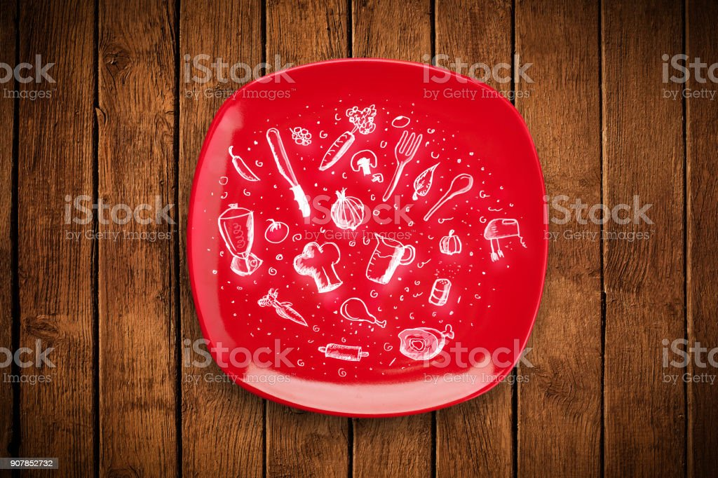 Colorful plate with hand drawn icons, symbols, vegetables and fruits stock photo