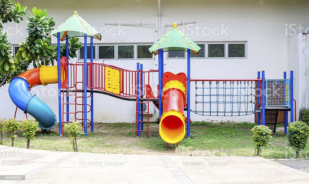 Colorful playground equipment stock photo