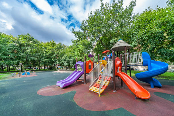 Colorful playground equipment Colorful playground equipment for children in public park in summer leisure equipment stock pictures, royalty-free photos & images