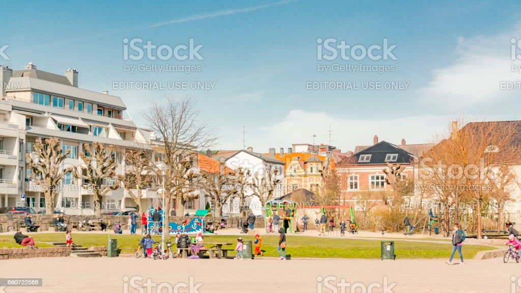 Colorful playground in the city stock photo