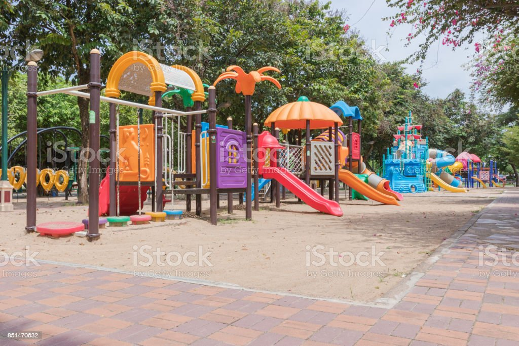 Colorful playground in the park. stock photo