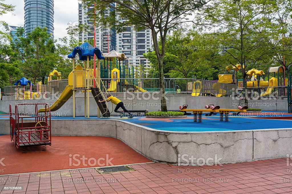 Colorful playground on KLCC Park Kuala Lumpur Malaysia stock photo