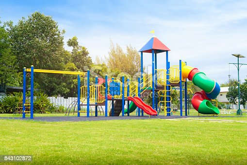 istock Colorful playground on yard in the park. 843102872