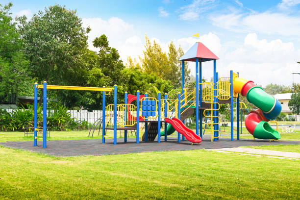 colorful playground on yard in the park. - recess stock pictures, royalty-free photos & images