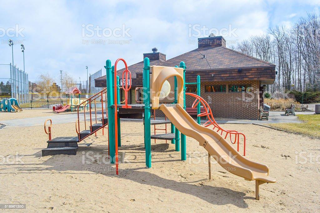 Colorful playground on yard stock photo