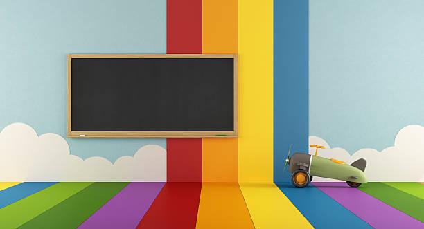colorful playroom with blackboard - lila, grün, schlafzimmer stock-fotos und bilder
