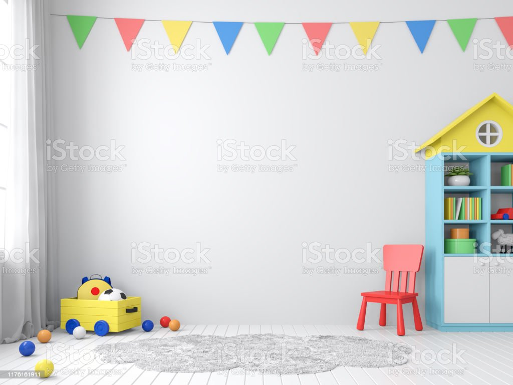 Colorful playroom with empty wall 3d render The playroom 3d render has white walls and floors decorated with colorful furniture.The walls are decorated with colorful triangular flags, natural light shines into the room. Architecture Stock Photo