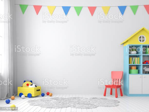 Colorful Playroom With Empty Wall 3d Render Stock Photo - Download Image Now