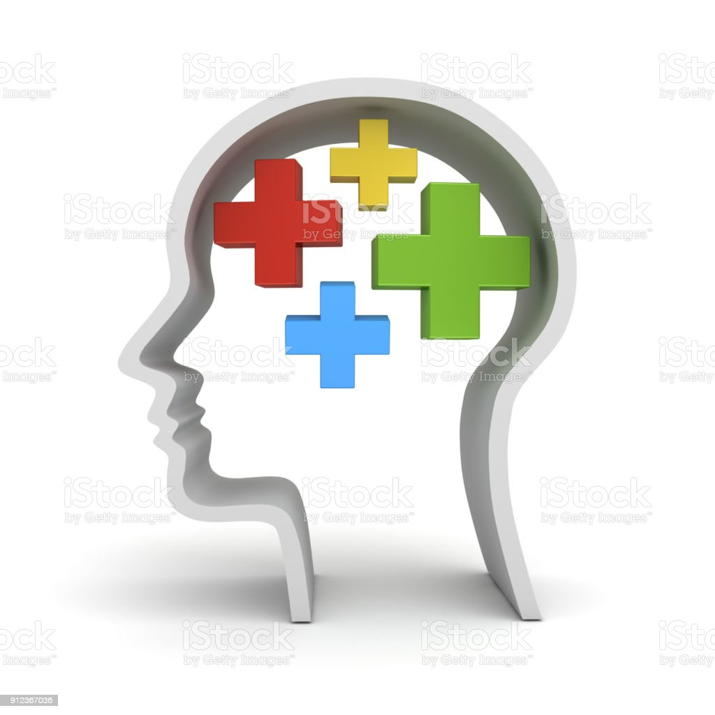 Colorful plus signs in human head shape isolated over white background stock photo
