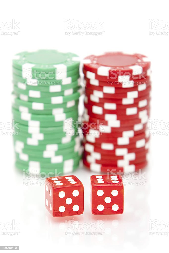 Colorful poker chips and dices royalty-free stock photo