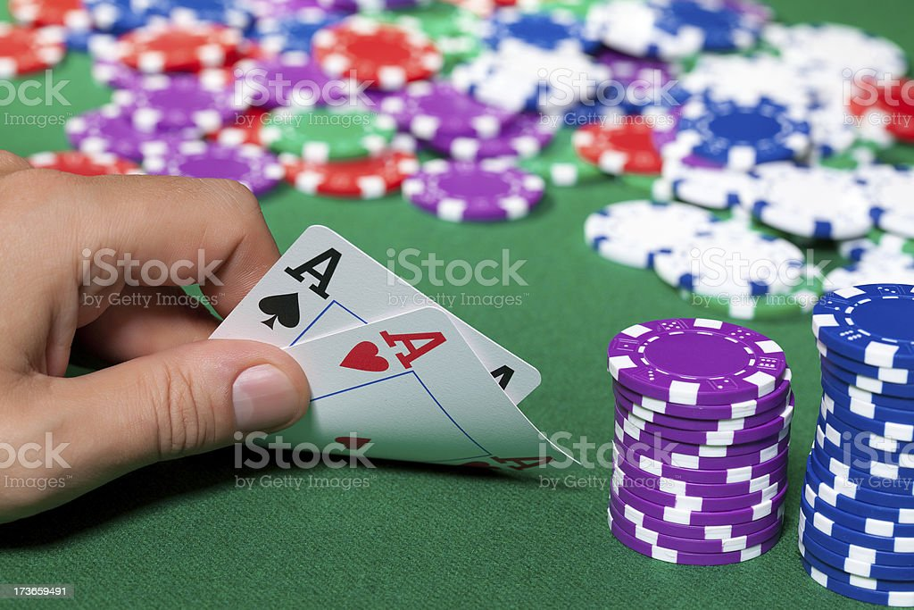 Colorful poker chips and two Ace royalty-free stock photo