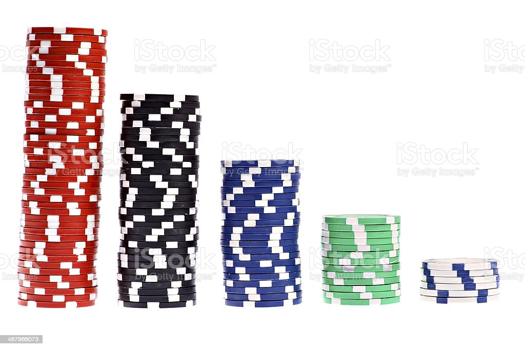 Colorful poker chips isolated on white stock photo
