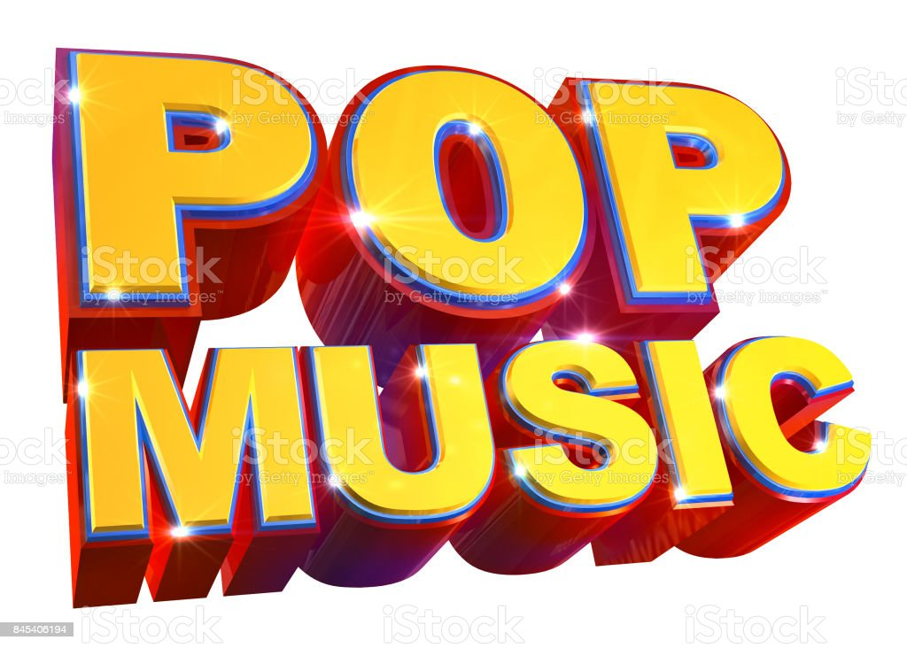 Colorful Pop music logo - 3d illustration stock photo