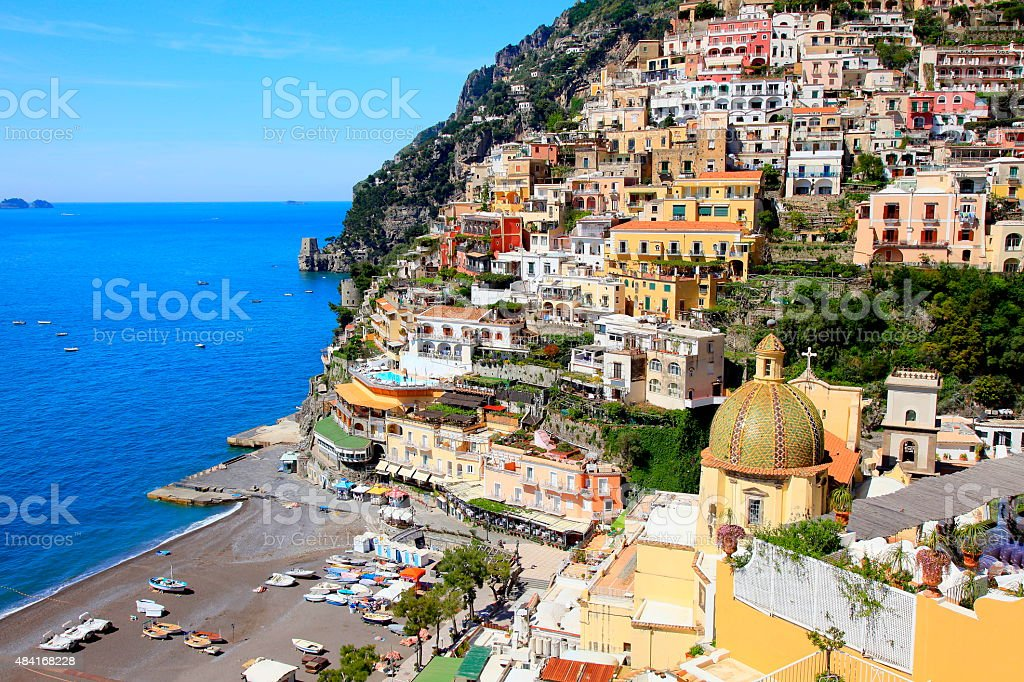 Colorful Positano and turquoise sea, Amalfi Coast - Italy stock photo