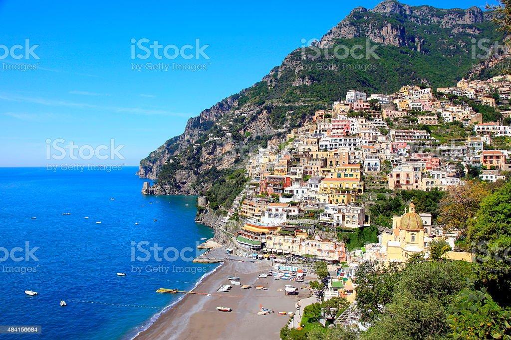 Colorful Positano and turquoise sea, Amalfi Coast stock photo