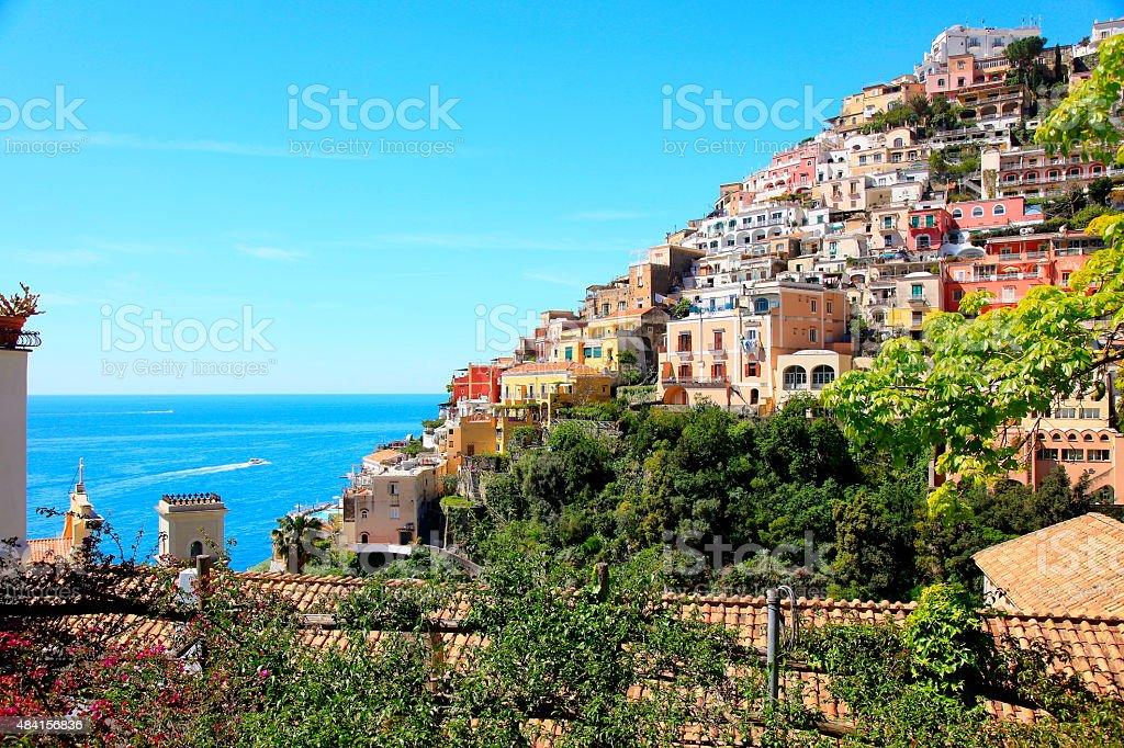 Colorful Positano roofs and turquoise sea, Amalfi Coast - Italy stock photo