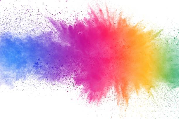 흰색 바탕에 화려한 분말 폭발. 추상 파스텔 컬러 먼지 입자 스플래시. - 색상 이미지 뉴스 사진 이미지