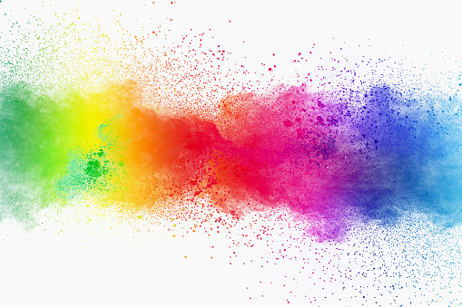 istock Colorful powder explosion on white background. Pastel color dust particle splashing. 1136342754