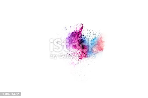 istock Colorful powder explosion on white background. 1134914729