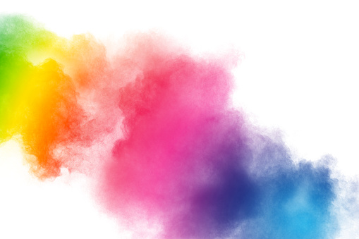 istock Colorful powder explosion on white background.Pastel color dust particle splashing. 1162569281