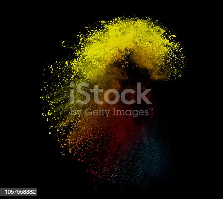 1131317595 istock photo Colorful powder or dust explosion isolated on black background  freeze stop motion art abstract photo object design 1057558382