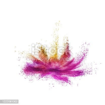 874001974 istock photo Colorful powder splash as a flower on a white background. 1222061002