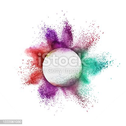 874001974 istock photo Colorful powder splash in a round frame on a white background. 1222061030
