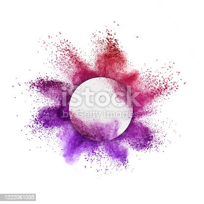 874001974 istock photo Colorful powder splash in round frame on a white background. 1222061033