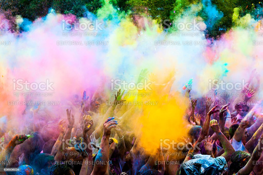 Colorful powder throw at a holi party stock photo