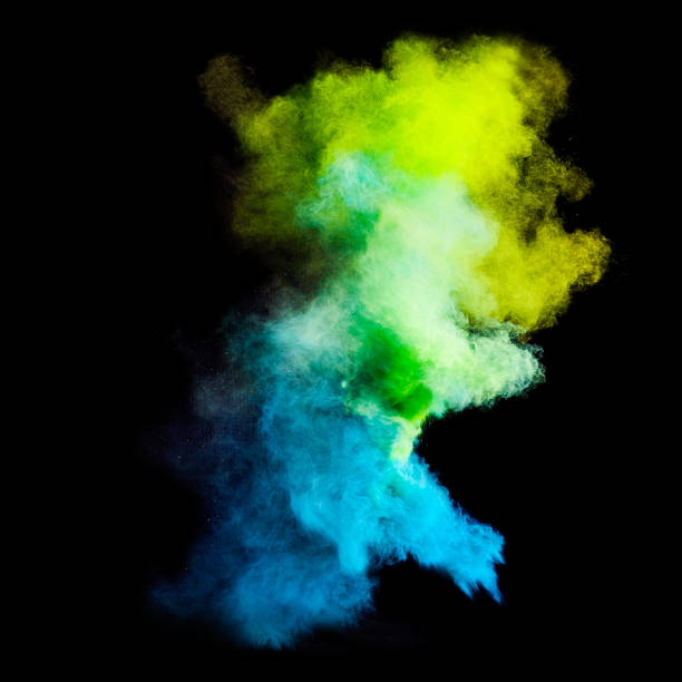 colorful powders - blue powder stock photos and pictures