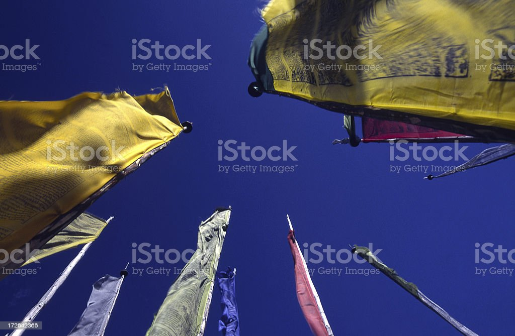 colorful prayer flags dancing on the wind stock photo more