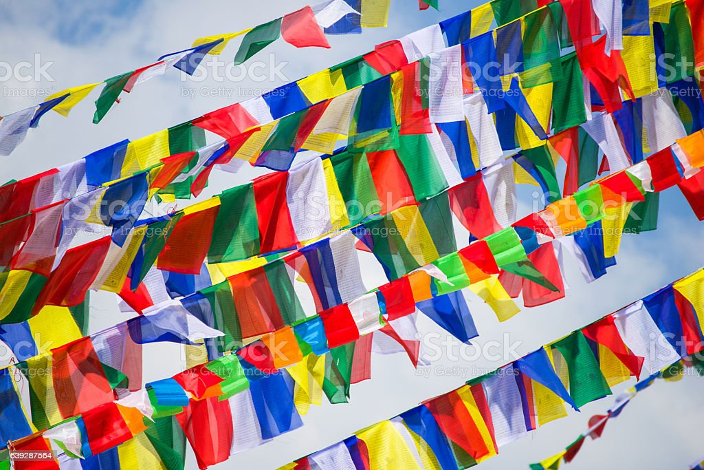 colorful prayer flags in Nepal stock photo