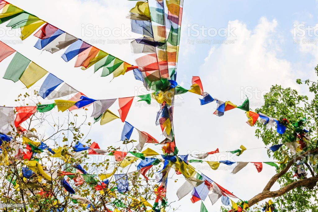 Colorful prayer flags stock photo
