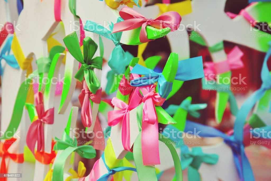 Colorful Prayer Ribbons tied to the Wish Tree, different color represents different hope royalty-free stock photo