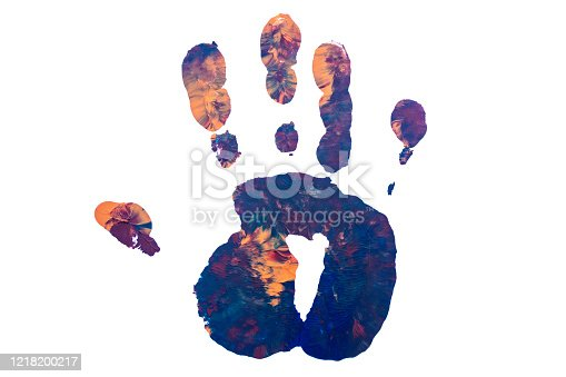 Colorful print of man hand isolated on white background.