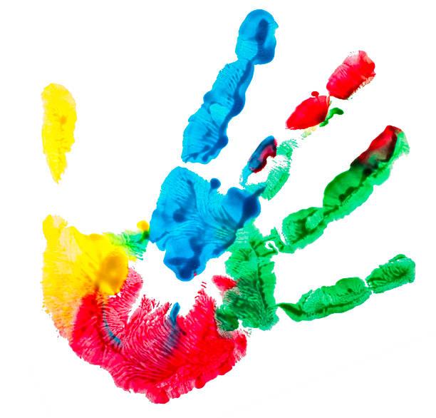 farbenfrohe aufdruck palm - fingerfarben stock-fotos und bilder