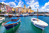 colorful Procida island in Campania, Italy