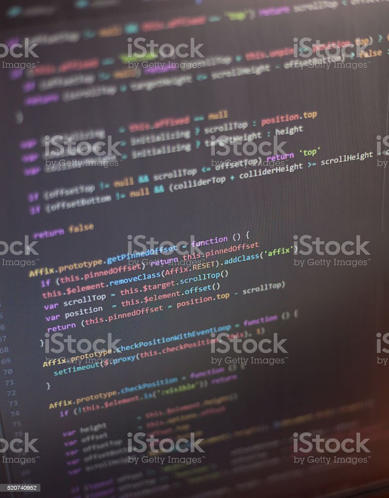 Colorful programming php and html code on a monitor. stock photo