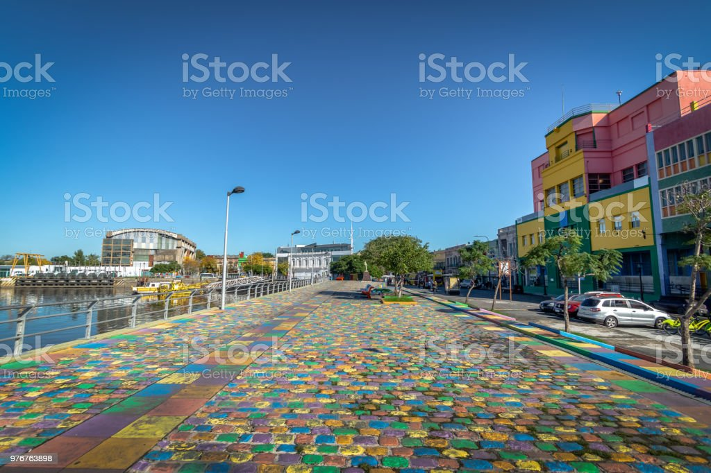 Colorful promenade at La Boca neighborhood - Buenos Aires, Argentina stock photo