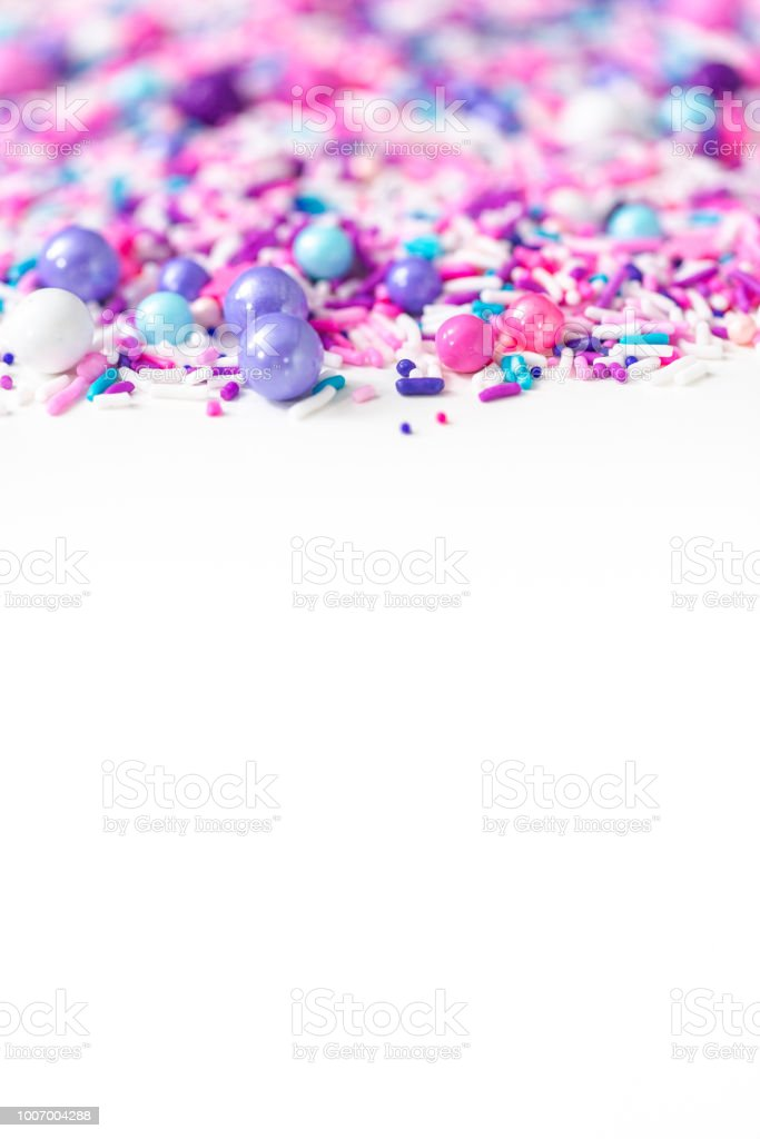 Colorful Purple Sprinkle Blend On A White Background Stock