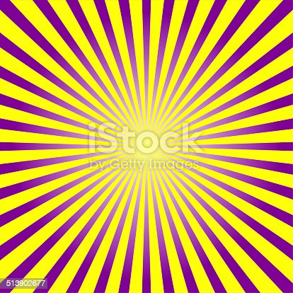 istock Colorful purple & yellow ray sunburst style abstract background 513902677