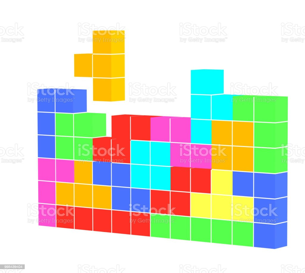Colorful Puzzle Cubes Video Game Geometric 3d Shapes Illustration Block Diagram Games Stacking Cube Shape Leisure