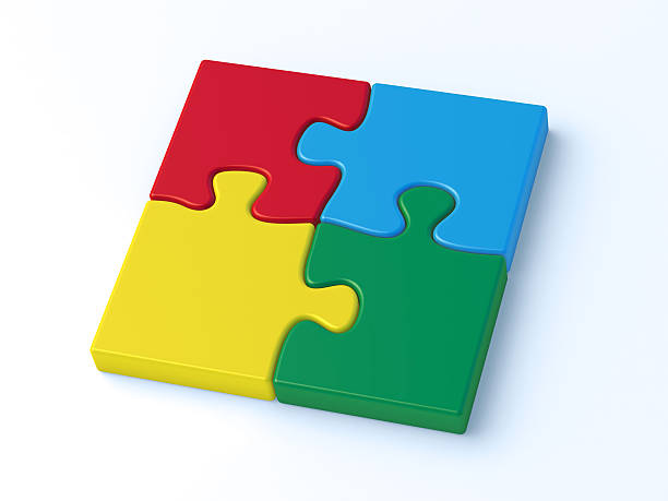 Colorful Puzzle Four Pieces Complete 3D Render of a jigsaw puzzle with four colorful pieces. Very high resolution available! blue 3d business NOT map NOT background stock pictures, royalty-free photos & images