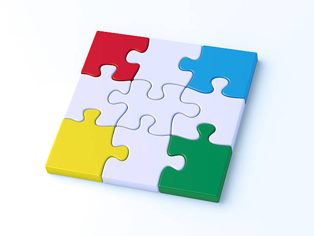 Colorful Puzzle Nine Pieces Complete 3D Render of four colorful puzzle pieces on the edges of a nine piece jigsaw puzzle. Very high resolution available! blue 3d business NOT map NOT background stock pictures, royalty-free photos & images