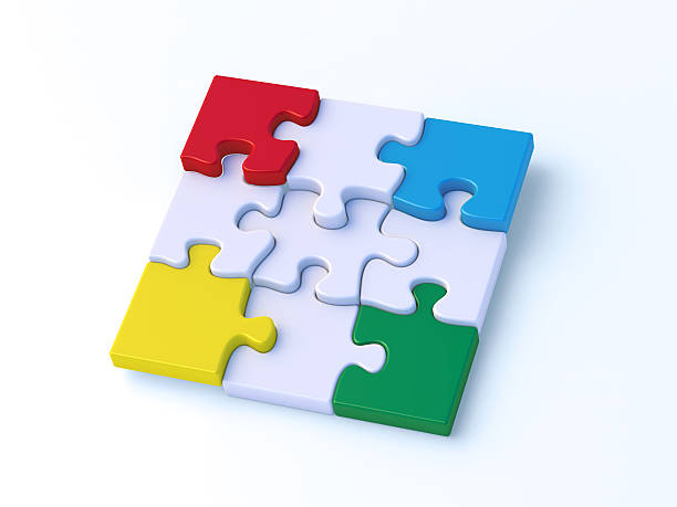 Colorful Puzzle Nine Pieces Putting Together 3D Render of four colorful puzzle pieces on the edges of a nine piece jigsaw puzzle. Very high resolution available! blue 3d business NOT map NOT background stock pictures, royalty-free photos & images